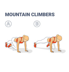 Mountain climbers home workout female exercise vector