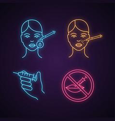 Neurotoxin injection neon light icon vector