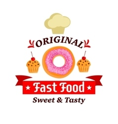 Original fast food sweet and tasty donut muffin vector