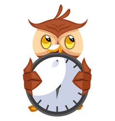 owl with big clock on white background vector image