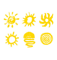 Painted sun icon grunge design element for vector