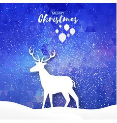 paper cut deer in snowy landscape merry christmas vector image