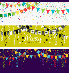 party banners with garland colour flags and vector image