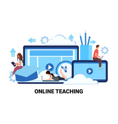 people studying computer application training vector image
