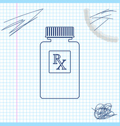 pill bottle with rx sign and pills line sketch vector image