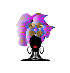 portrait beautiful african woman in turban vector image