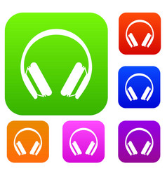 Protective headphones set collection vector
