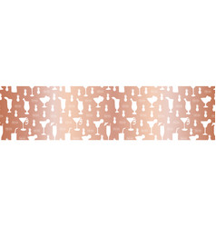 Rose gold foil cocktail glass seamless border vector