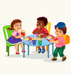 School lunch colorful poster vector