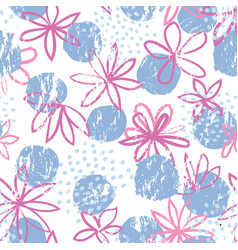 seamless floral pattern with polka dot ornament vector image
