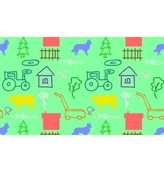 seamless pattern with a farm vector image