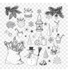 set hand-drawn sketchy christmas elements vector image