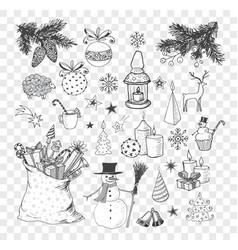 Set of hand-drawn sketchy christmas elements vector