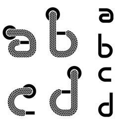 shoelace alphabet lower case letters a b c d vector image