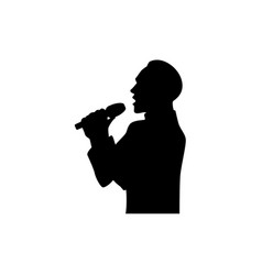 silhouette of singing man half length portrait vector image