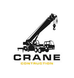 silhouette transport crane logo vector image