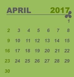 Simple calendar template of april 2017 vector