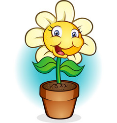 smiling potted flower cartoon vector image