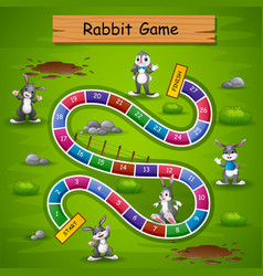 Snakes and ladders game rabbit theme vector