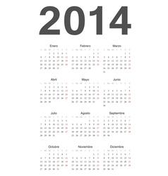 Spanish 2014 year calendar vector image
