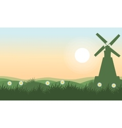 Spring landscape with windmill vector image