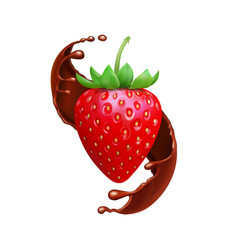 strawberry in chocolate liquid splash realistic vector image