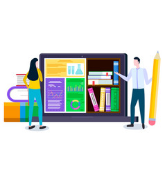 student and laptop online library and education vector image