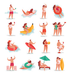summer party people set vector image