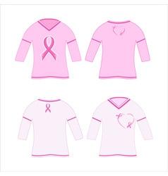 t-shirts with pink ribbon vector image
