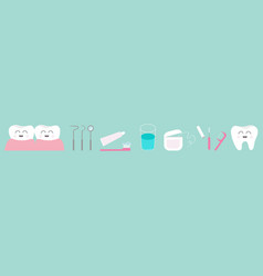 toothpaste toothbrush dental tools instruments vector image