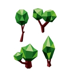 Trees icons composed green and brown polygons vector