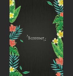 tropical leaves and flower border on blackboard vector image