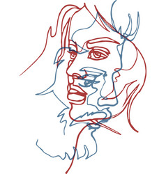 two faces man and woman continuous line vector image