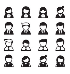 User man woman businessman icon set vector
