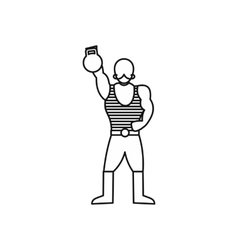 Vintage circus strong man icon outline style vector