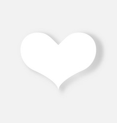 white heart on white background valentines day vector image