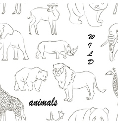 Wild animals set pattern vector image vector image