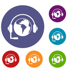 World planet and headset icons set vector