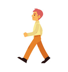 Young smiling man walking forward in flat style vector