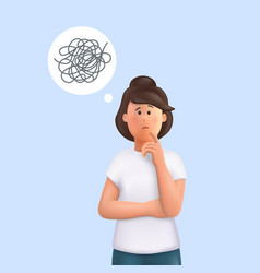 Young woman jane with tangled thoughts business vector