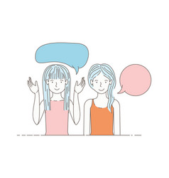 young women with speech bubble avatar character vector image