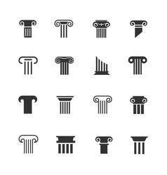 Ancient greek and roman column icons vector