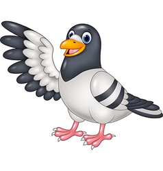Cartoon funny Pigeon bird presenting isolated vector image