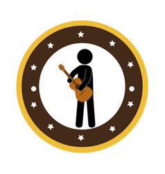 human playing acoustic guitar instrument icon vector image vector image