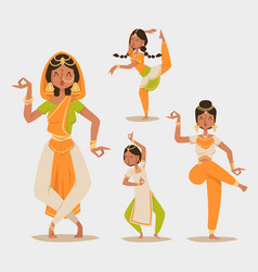 indian woman dancing isolated dancers vector image vector image