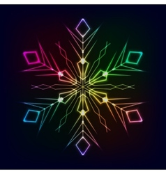 Clorful shiny snowflake on dark background vector image vector image