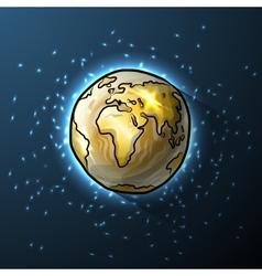 Golden doodle globe in space vector image vector image
