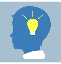 Human profile with bulb vector image