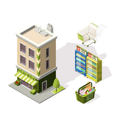 isometric tools for supermarket 3d vector image