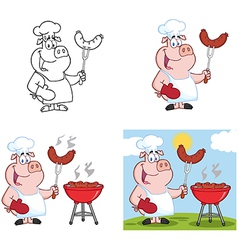 Pig Chef With Sausage Collection vector image vector image